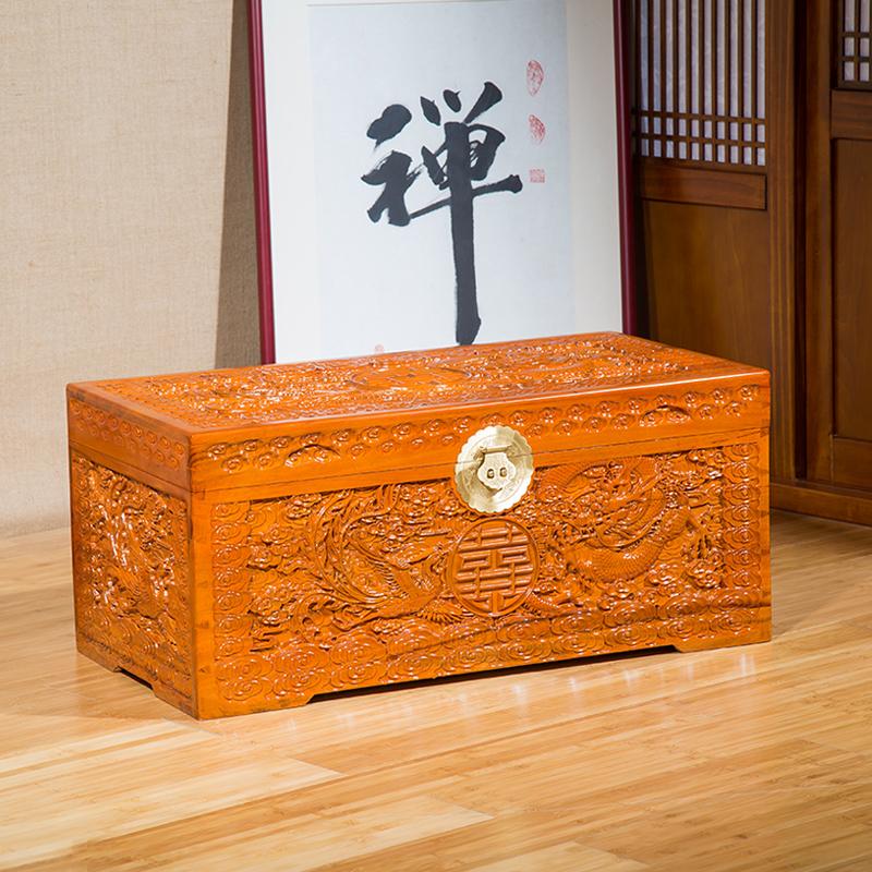 香樟木箱子全 实木复古箱 储物衣箱樟木箱字画收纳结婚陪嫁书画箱