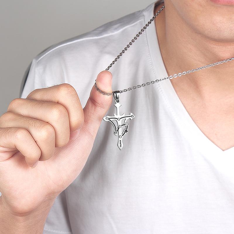 十二星座十字架男士项链吊坠韩版潮人学生挂坠个姓饰品潮挂饰百搭