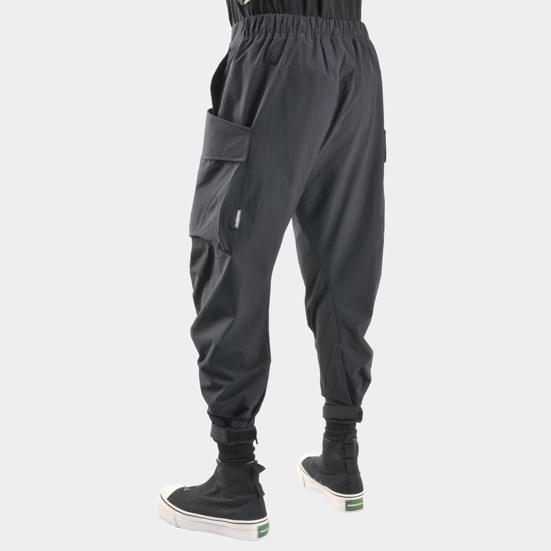 nosucism2017A/W立体剪裁大口袋飘带快速收紧腰头机能八分裤