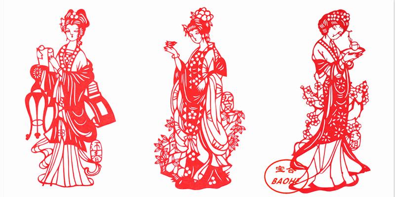 十张包邮中国风特色蔚县剪纸窗花作品红楼梦人物十二金钗出国礼品