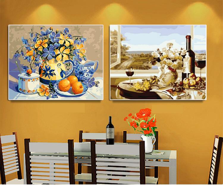 数字油画餐厅水果红酒diy填色手绘工静物水油彩画客厅装饰挂画