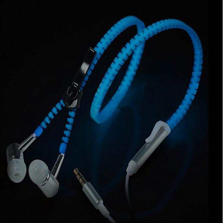 金属夜光荧光入耳式耳麦重低音拉链耳机发光电脑手机通用线控带麦