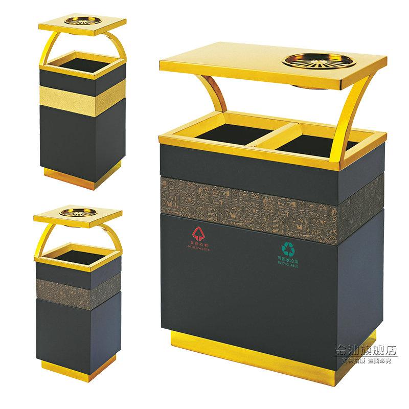 酒店宾馆大堂大理石垃圾桶带烟灰缸欧式钛金不锈钢垃圾筒桶