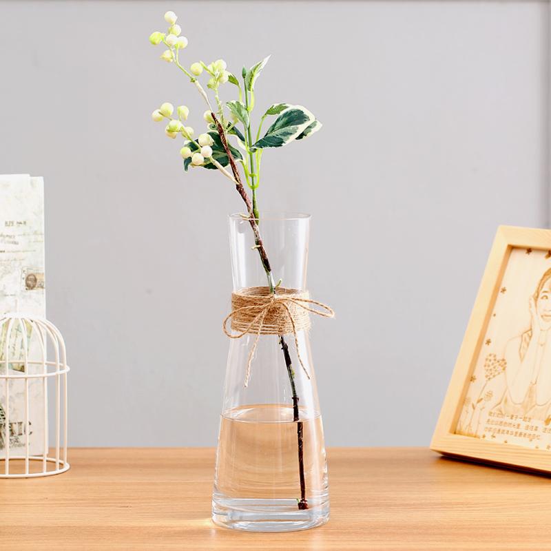 簡歐現代透明玻璃乾花小花瓶客廳餐桌家居水培富貴竹花盆插花擺件