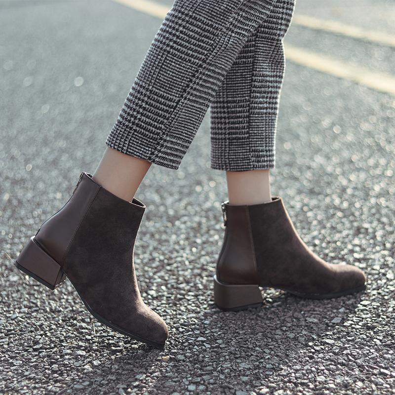 小短靴女2018新款春秋学生百搭瘦瘦靴粗跟中跟踝靴平底短筒靴子女