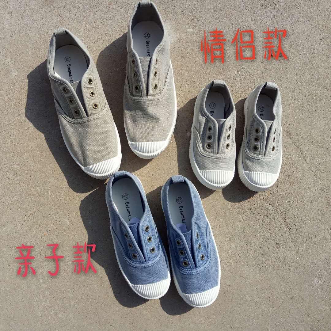 特 韓國單貝殼頭帆布鞋親子鞋 水洗做舊軟底懶人鞋一腳蹬小白鞋女