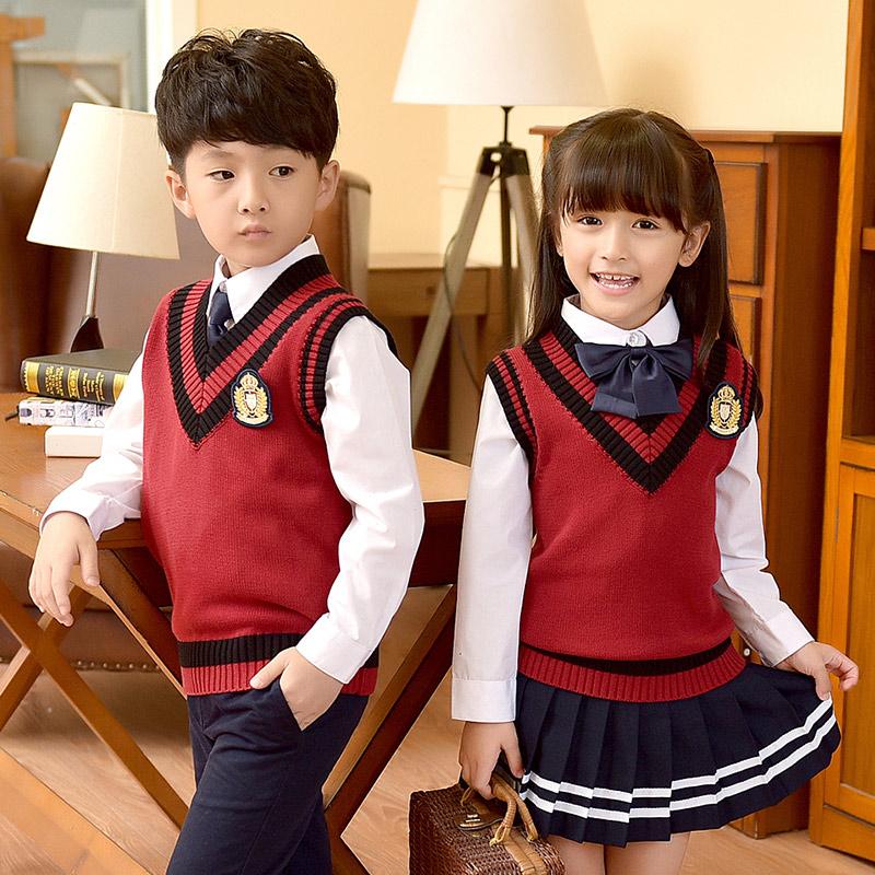 幼儿园园服春秋季英伦学院风校服男女童装毛衣韩版套装小学生班服