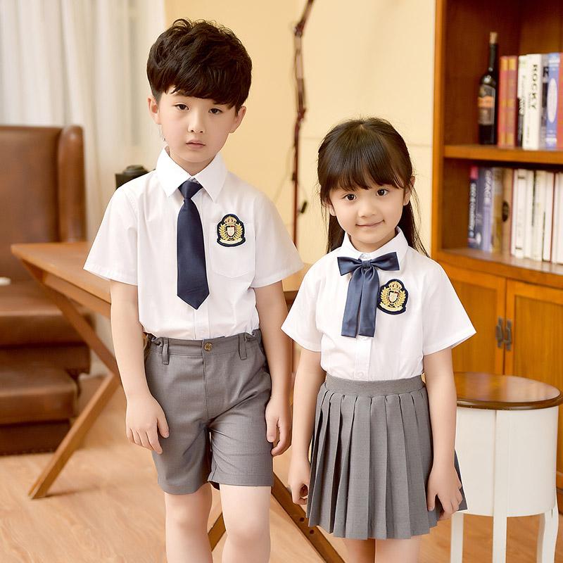 2020夏季校服儿童装套装男女短袖衬衫韩版中小学生班服幼儿园园服