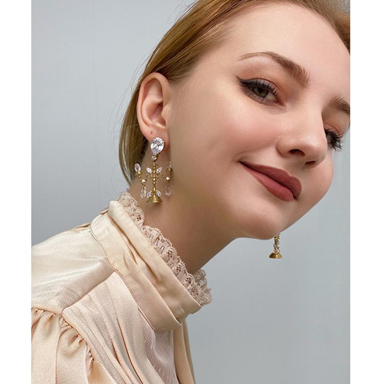 7CHEN 新款欧美复古水晶灯耳坠时髦小众设计感耳钉耳饰显脸小  2021