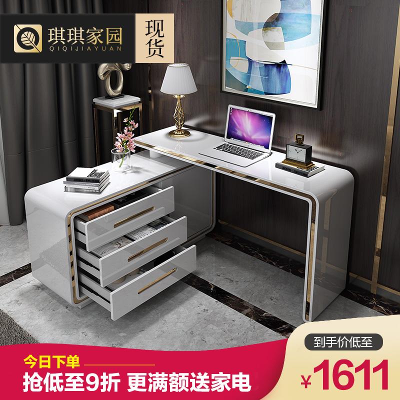 後現代電腦桌子家用書桌書架組合簡約電腦檯式桌臥室寫字檯輕奢風