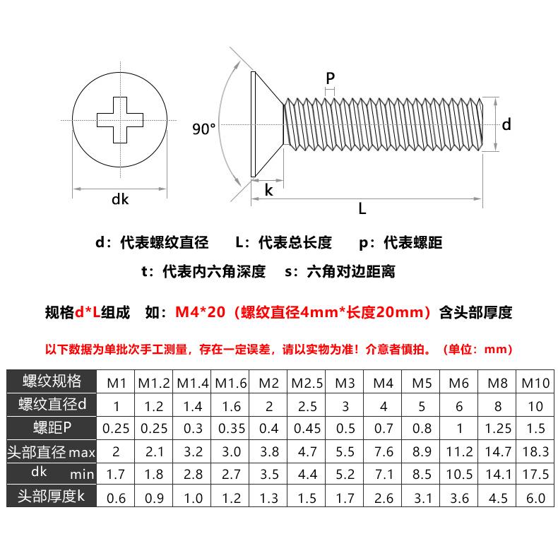 包邮【M3 M4 M5】304不锈钢螺丝十字平头螺丝沉头螺钉螺栓*5x6/10