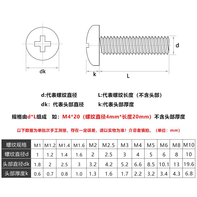 304开关插座面板安装螺钉M4沉圆头4/5/6/8/10cm公分加长螺丝20只