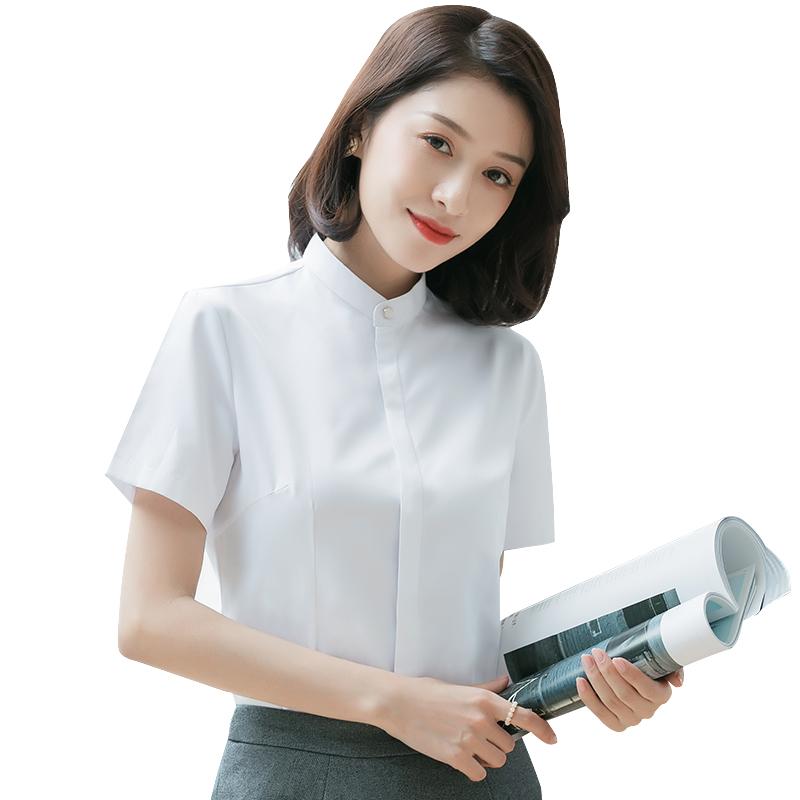 夏季小圆领衬衫女短袖商务休闲职业装纯色半袖白衬衣暗门襟防走光主图