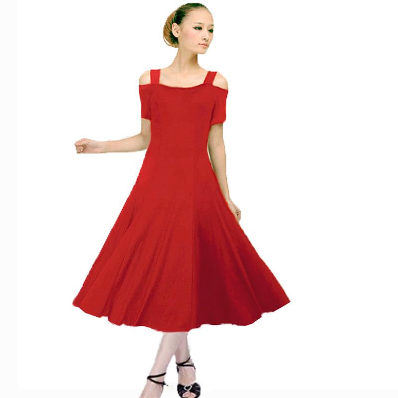 中长款舞蹈服国标舞伦巴服装练习拉丁舞裙成人摩登吊带大摆连衣裙