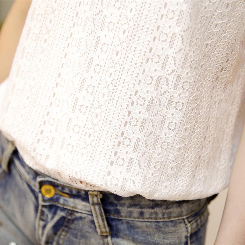 韩版修身显瘦短袖打底蕾丝小衫V领上衣女2017新款夏季百搭雪纺衫