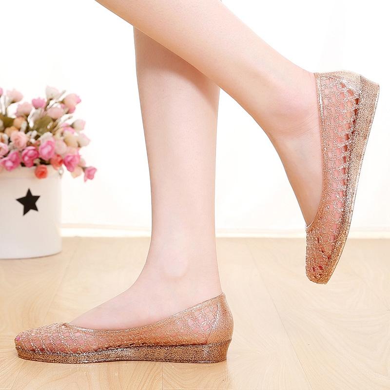 夏季新款韩版凉鞋女水晶塑料沙滩鞋洞洞鞋女坡跟妈妈鞋女潮鞋