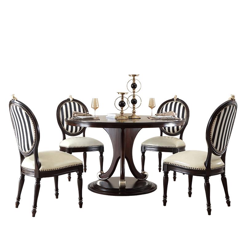 卫诗理法式新古典实木圆形餐桌椅子家用欧式皮艺餐椅组合大户型T5