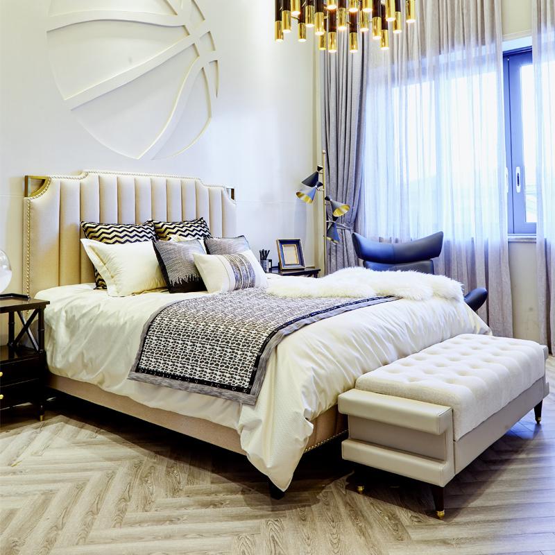 卫诗理美式布艺双人床1.5现代简约卧室轻奢高箱实木床1.8米家具Y7