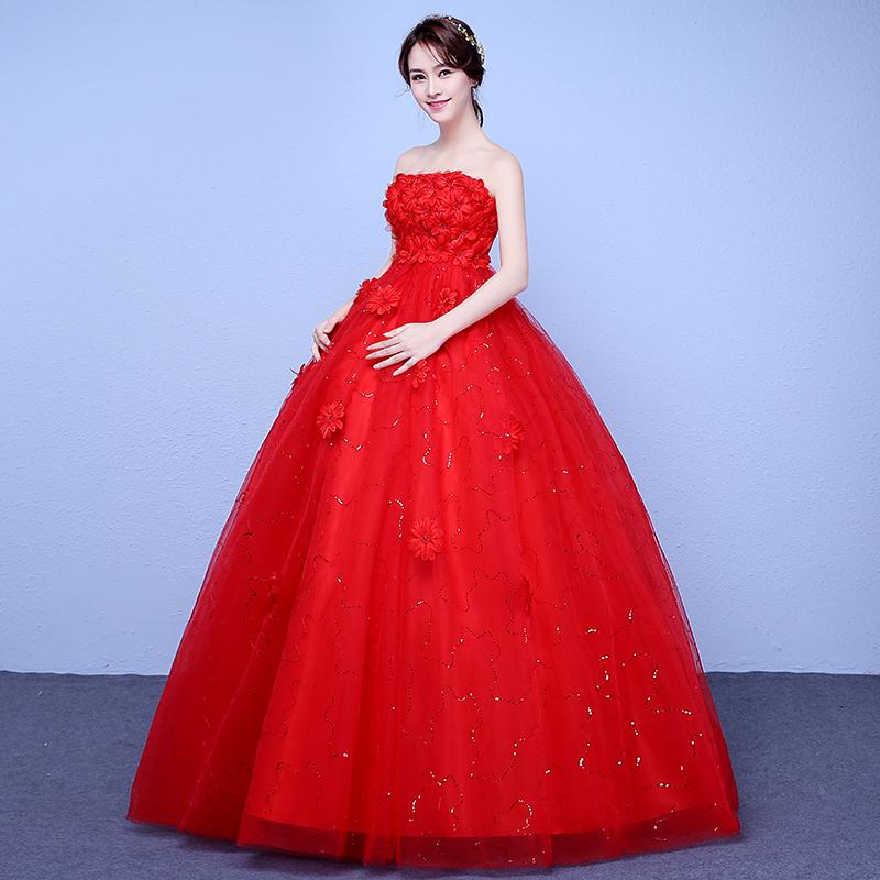 红色婚纱礼服新娘孕妇婚纱2019新款高腰韩式韩版婚纱简约齐地奢华