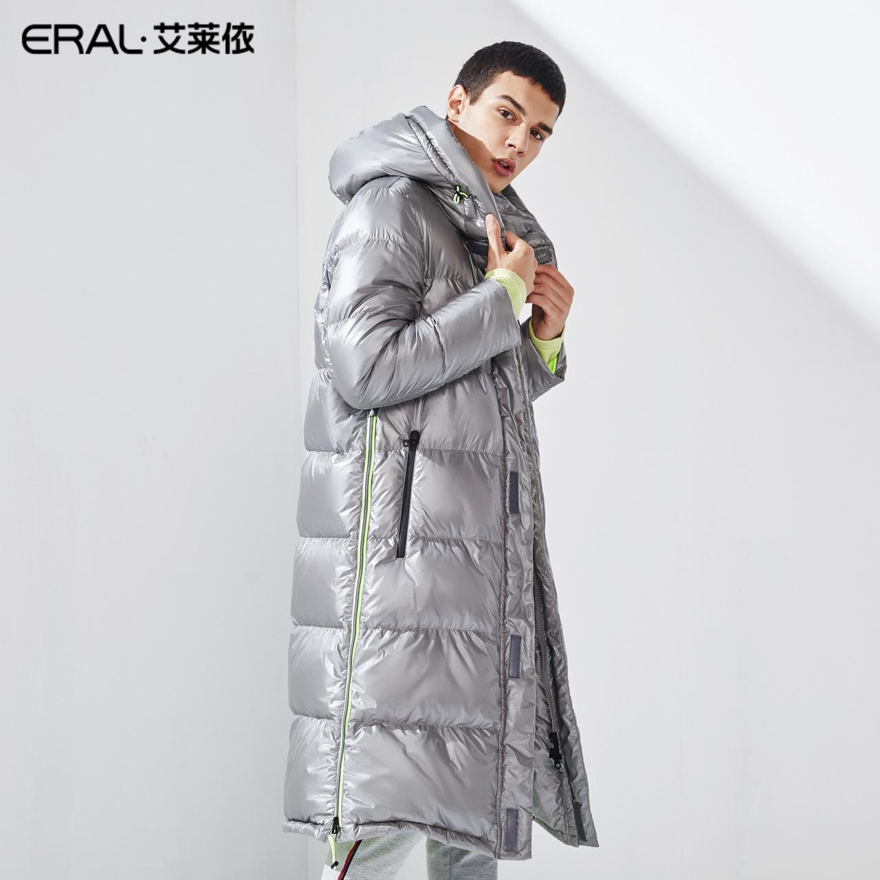 601841027 2019  艾莱依 冬季新款长款连帽羽绒服男士冬装大衣