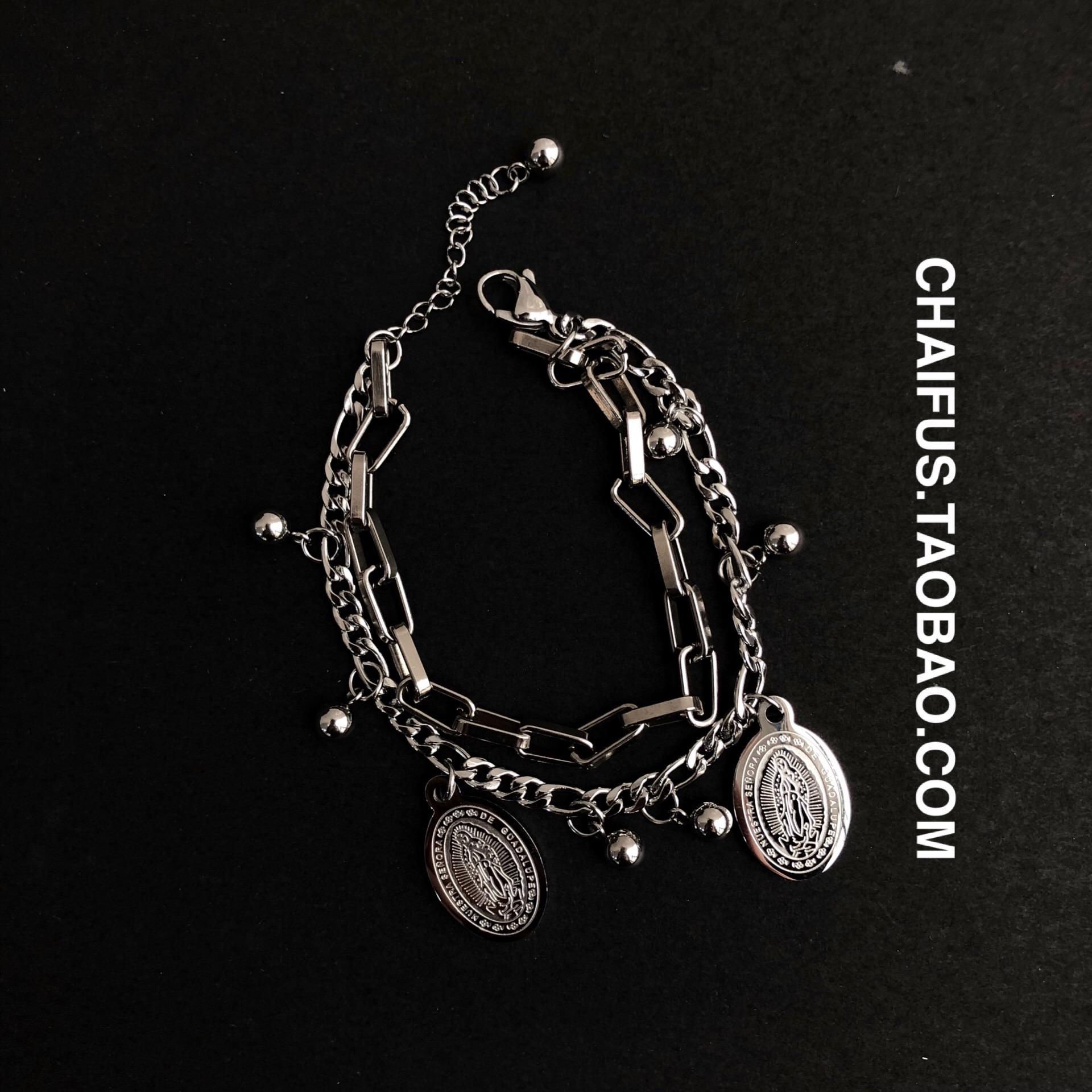 黑暗风暗黑双层耶稣手链单链条层次感手链 S50 studio Chaifu