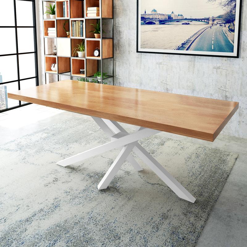 北欧实木会议桌长桌简约现代创意办公桌小型会议洽谈桌椅组合 LOFT