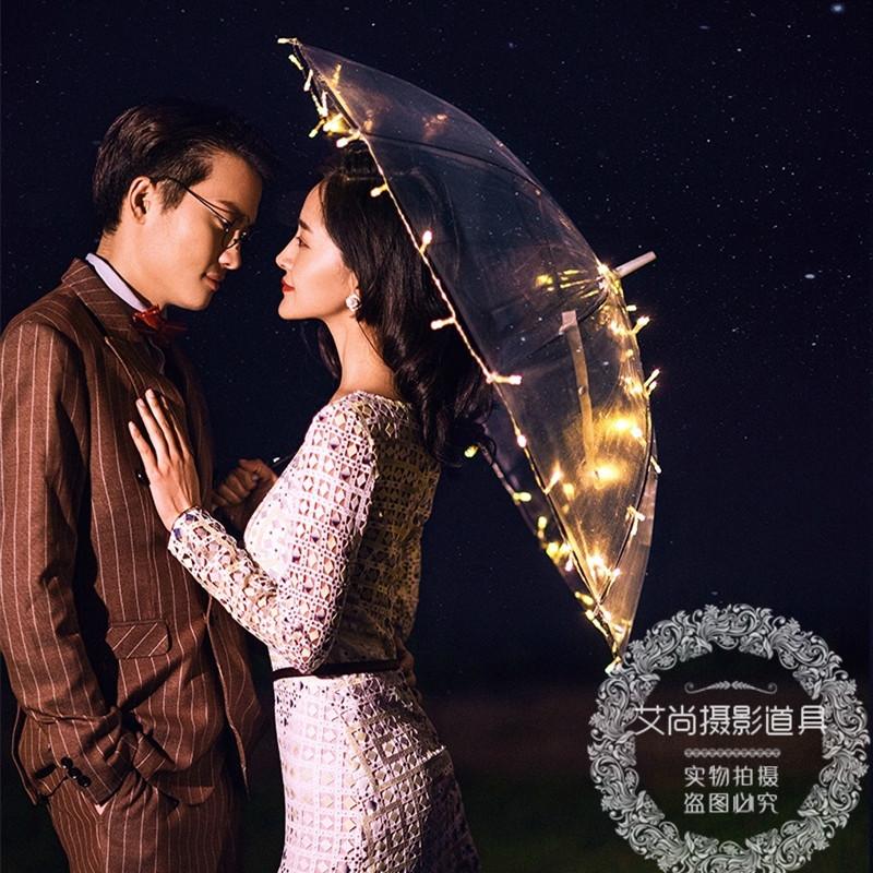2018新款影楼摄影道具 夜景婚纱主题拍摄外景旅拍创意LED灯透明伞