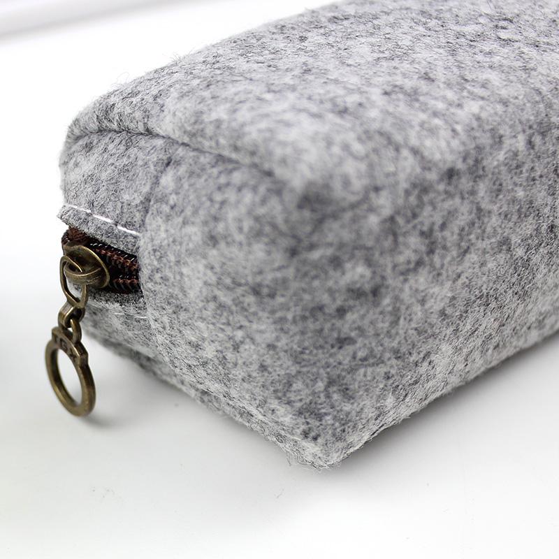 毛毡笔袋创意女生韩国文艺复古简约笔袋高中生大学生大容量文具盒