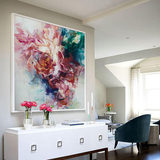 Hand painted abstract rich peony flower oil painting modern minimalist flower decoration painting european living room bedroom porch mural