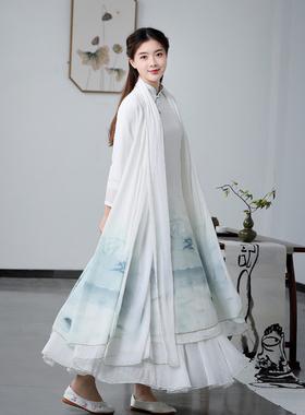 2021春季装新款雪纺民族风复古文艺茶服连衣裙宽松中式很仙的套装