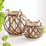Lantern retro American with rope natural wicker lantern pendant hand-woven home decoration wind lamp candlestick creative
