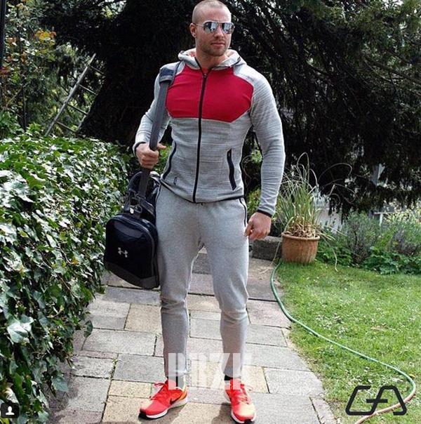肌肉兄弟运动服饰外套男士连帽拉链衫休闲卫衣跑步健身训练服上衣
