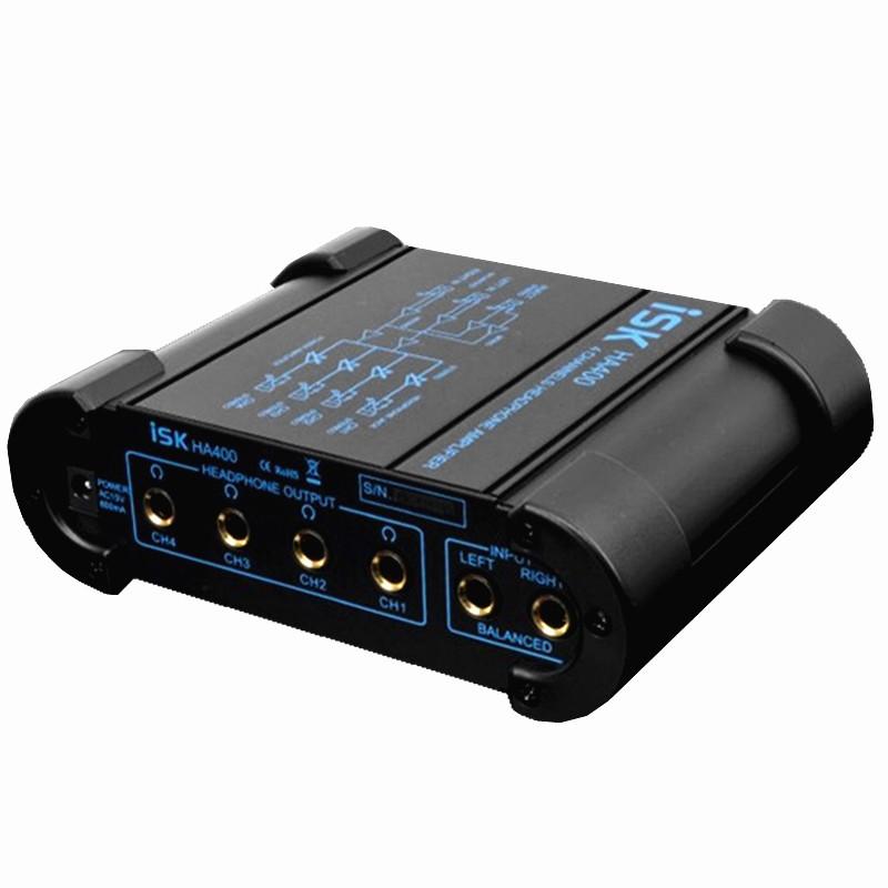 ISK HA400 便携式四路耳放 专业耳机分配器 放大器 K歌录音棚专用