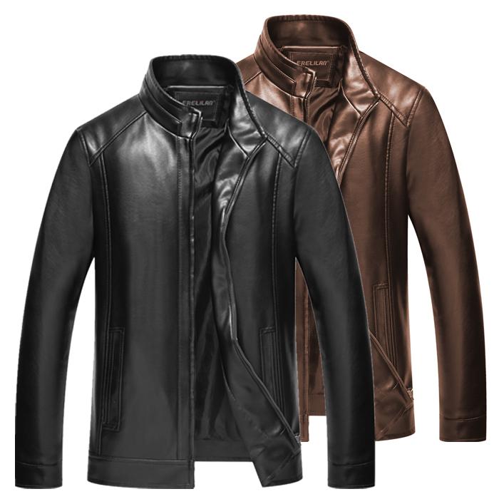 天天特价中年男士皮衣薄款中老年皮夹克立领爸爸装加绒加厚皮外套