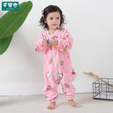 Children's flannel one-piece pajamas sleeping bag baby plus velvet thick double layer one-piece pajamas romper home service