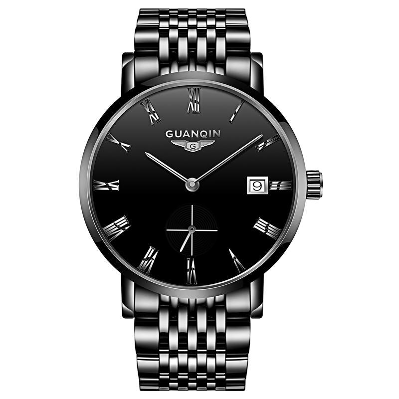 中老年手表男士手表防水时尚新款全自动机械表精钢带超薄男表潮生