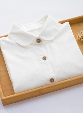 春季新款纯棉长袖白衬衫女装学院风内搭打底衫衬衣上衣简约职业装