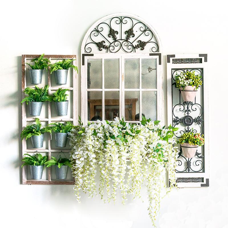 美式乡村复古铁木结合假窗户窗镜壁饰壁挂墙饰店铺装饰品 SP038