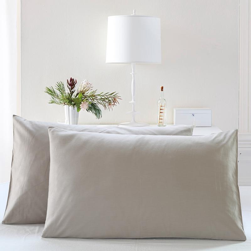 琦云纯棉枕套一对装48 74标准枕头套 纯色全棉信封式枕套包邮