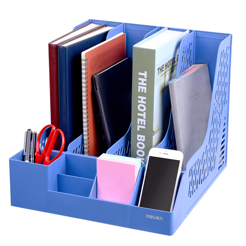 得力文件架办公用品文件框多层学生书立加厚文件夹四联文件座简易桌上资料筐文件收纳置物书架笔筒
