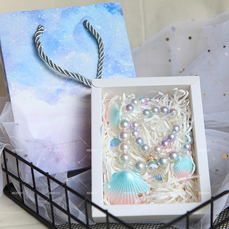 INS新款贝壳项链 宝宝女童生日礼物 幻彩珍珠贝壳饰品套装套盒