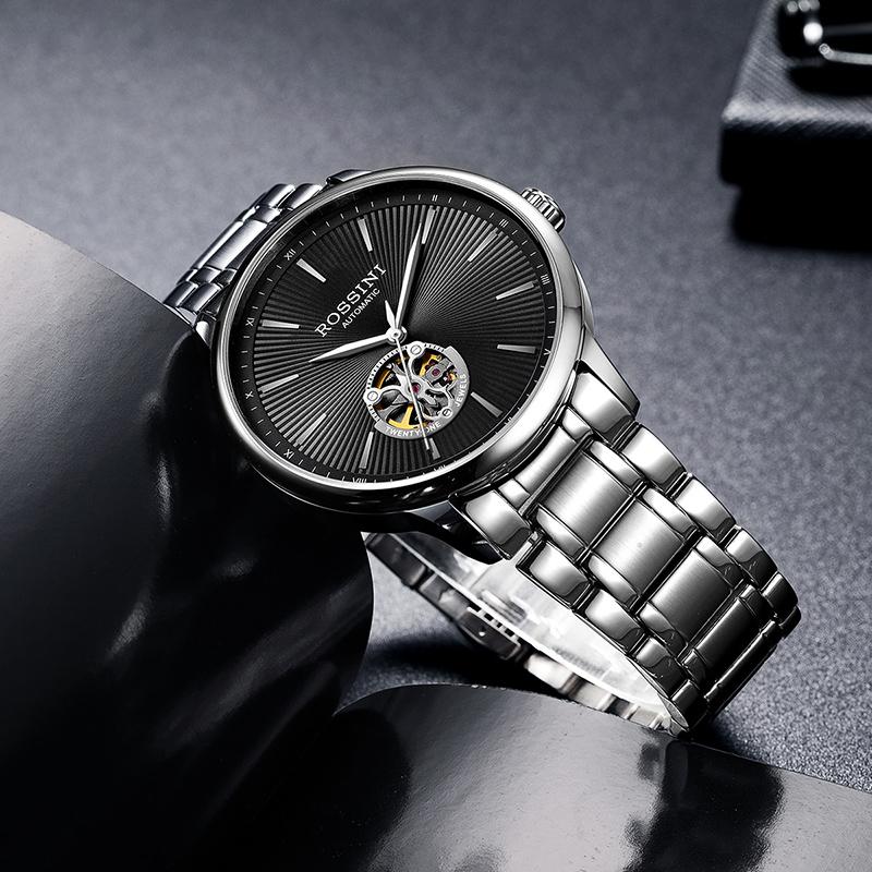 特价 罗西尼手表男机械表防水潮流商务镂空男士腕表518851