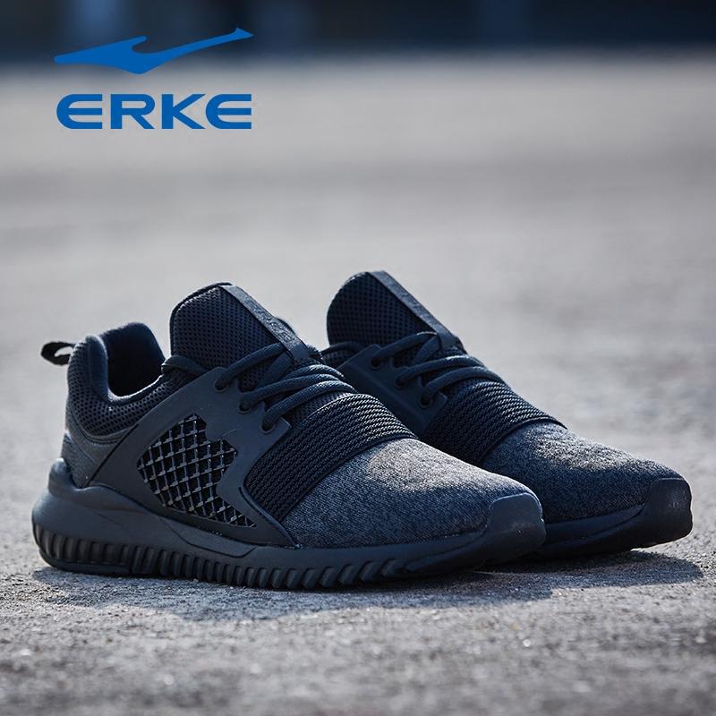 春季新品黑色跑鞋防滑耐磨减震休闲账动鞋 2018 鸿星尔克男子跑步鞋