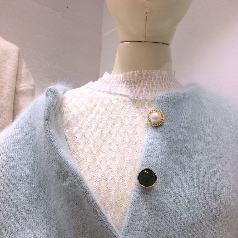 气质单排扣仿水貂毛开衫彩色宝石纽扣针织上衣短款兔毛毛衣外套女