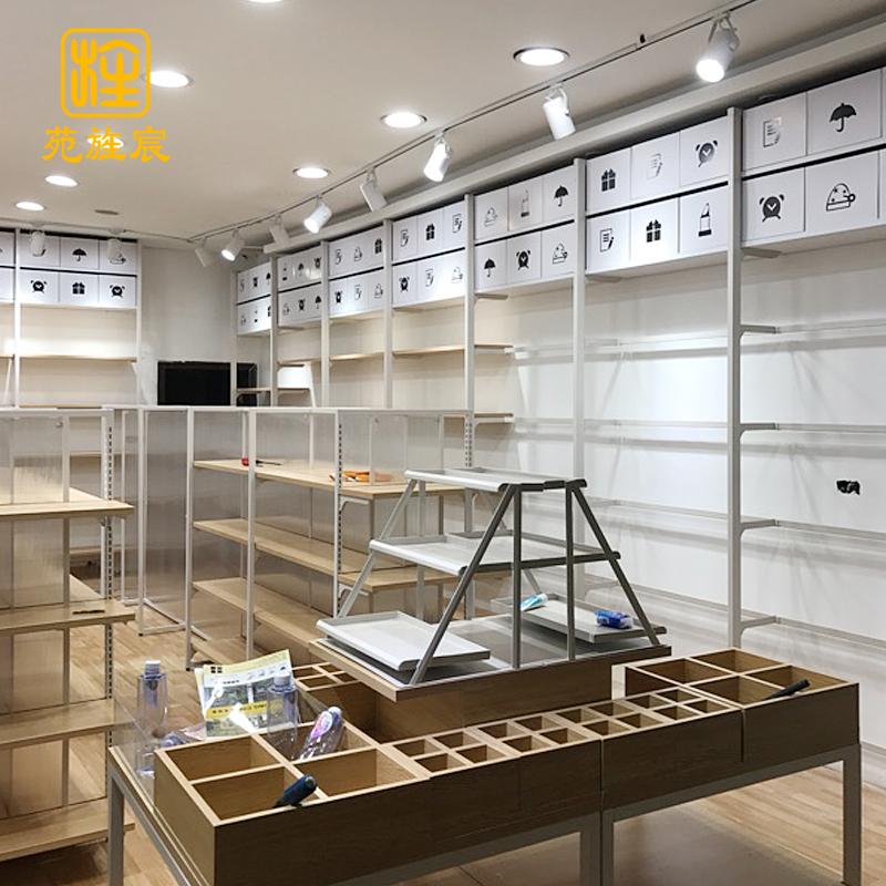优品饰品货架展示架自由组合木质陈列架上墙组装货柜文具店展示柜