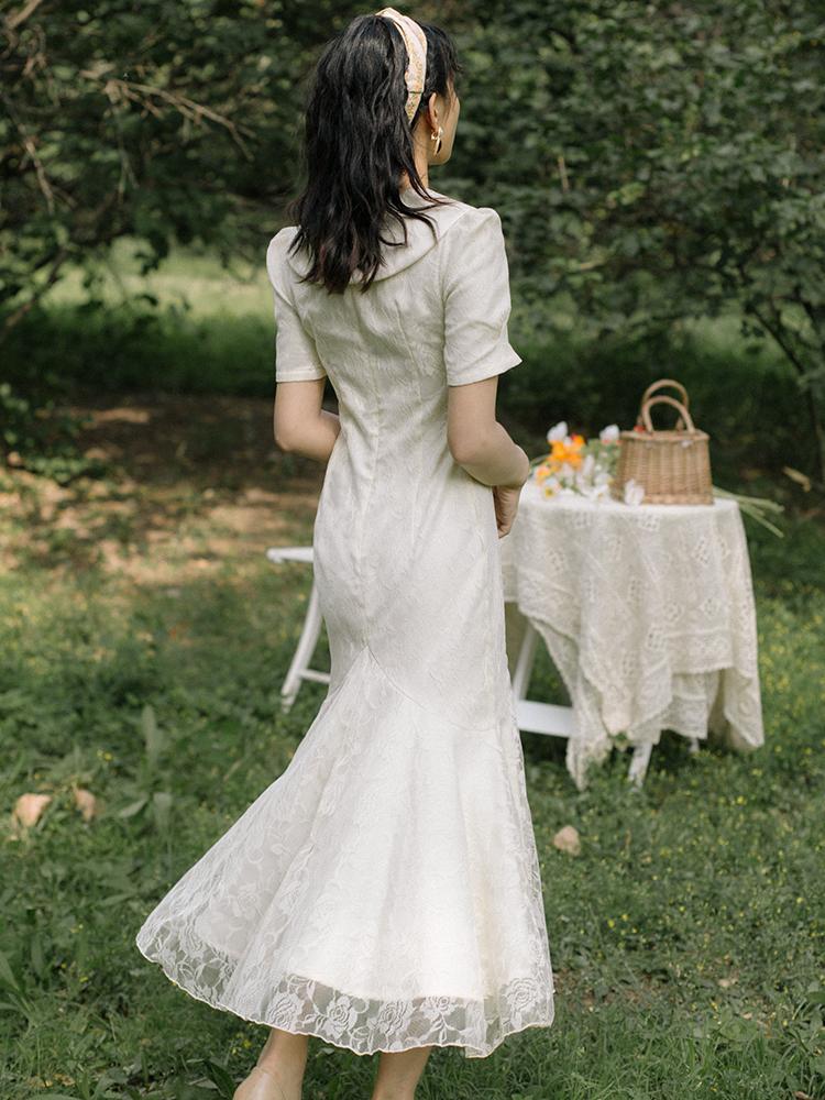 2021年夏季新款法式小众复古少女连衣裙收腰显瘦气质修身鱼尾裙