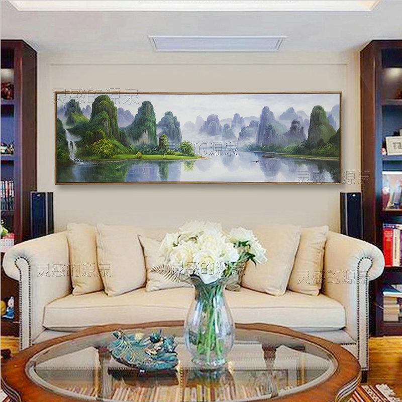 原创桂林山水手绘油画定制高端客厅沙发背景墙挂画床头别墅装饰画