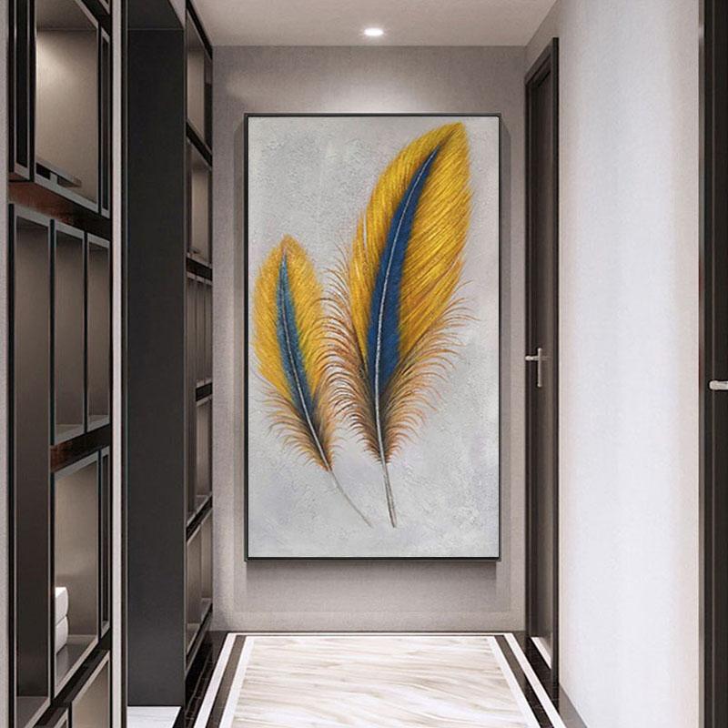 手繪玄關油畫美式掛畫裝飾畫客廳北歐豎抽象壁畫過道現代簡約羽毛