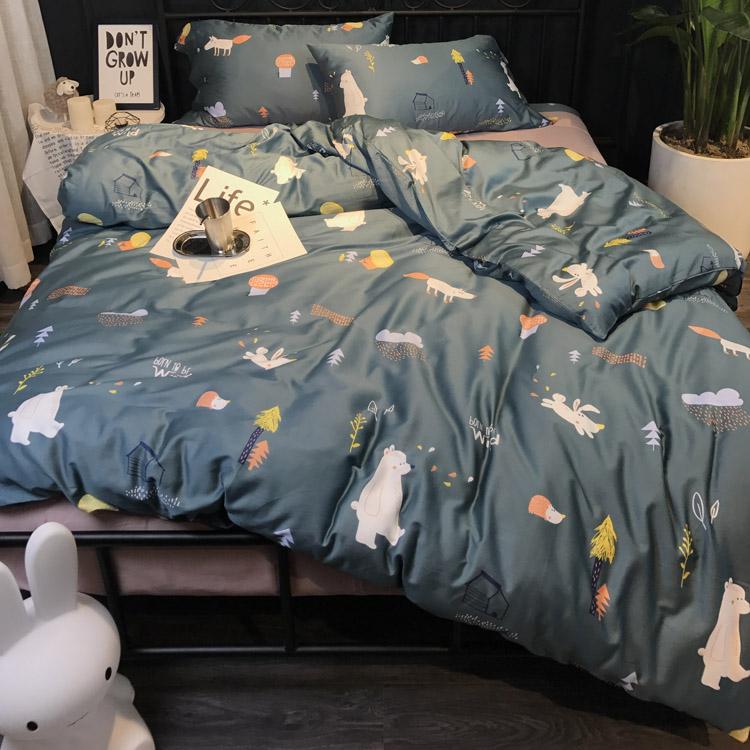 清仓全棉60支长绒棉四件套四季裸睡纯棉床笠床单被套卡通床上用品