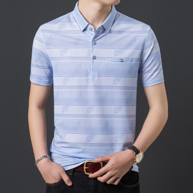 2020 summer new ice silk short-sleeved t-shirt lapel middle-aged men loose short-sleeve shirt Dad Xia